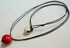 Stylish! Simple 12 mm. Red Coral Wax Cord Necklace - For men/women