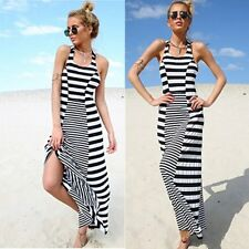 Womens Sexy Striped Sundress Summer Evening Party Beach Maxi Dress