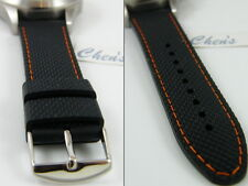 HQ Black Rubber band Orange or Other Stitch Watch Strap for 22mm 20mm 18mm Omega