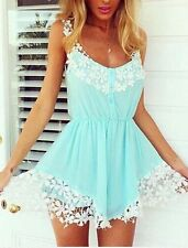 Sexy Women's Lace Jumpsuit Summer Cocktail Evening Party Mini Dress Jumpsuit