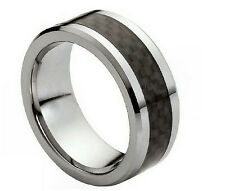 AMZ 8Mm Tungsten Carbide & Black Carbon Fiber Inlay Wedding Band Ring by Cohro
