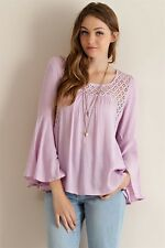 BOHO Bohemian Lavender Gypsy Peasant Top Bell Sleeve Ikat Pattern Lace NWT