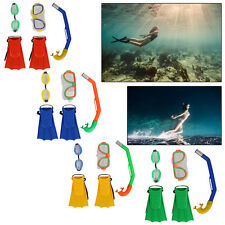 Snorkeling Dive Gear Mask Goggles Snorkel Fins Flippers Swimming Package Set