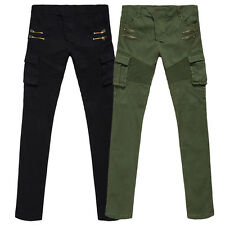 New Mens Stylish Trousers Straight Slim Fit Pants Casual Cotton Long Pants XS-XL