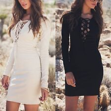 Women Plunge V-Neck Lace-Up Dress Long Sleeve Evening Party Cocktail Mini Dress