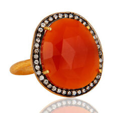 22K Yellow Gold Plated Red Onyx Faceted Gemstone CZ Ring Fashion Jewelry Gift