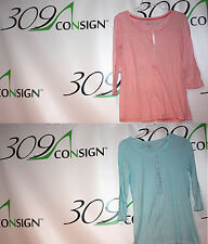GAP Womens Small Red Aqua Blue White Striped Cotton Henley Button Shirt Tshirt S