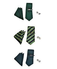 Green Micro Poly Woven Tie, Matching Hanky, Cufflink & Bar Set (PWTHGN)
