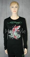ED Hardy T-Shirt KOI FISH PLATINUM crystals Long Sleeves Rhinestones S