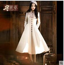 Womens Embroidery Full Long Buttons Wool Luxury Stand Collar Slim Coats Outwear
