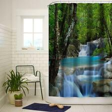 Anself Polyester Fabric Shower Curtains New 3D Waterfall Design w/ 12 Hooks O0F8