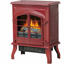 Electric Stove Heater Fireplace Portable Flame Antique Black Indoor Glossy
