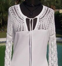 Cache $98 PEEK-A-BOO CROCHET NECK SLEEVES KNIT Top NWT KEY-HOLE STRETCH XS/S/M/L