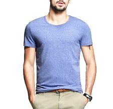 Simple Mens Short Sleeve Round Neck Casual T-Shirt Solid Purity 4 Colors 2XL