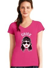 Chick - Bikers Matching Couples Gift Cool Funny V-Neck Women T-Shirt Chick &