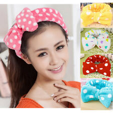 2PCS Fashion Hot Lovely Absorbent Face wash Shower Spa Makeup Bow Hair Headband