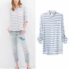 Womens Casual Blouse Ladies Loose Striped Long Sleeve Tee Shirt Lapel Loose Tops