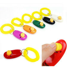 Mini Dog Puppy Pet Teaching Tool Clicker Obedience Training Keyring &Wrist Strap