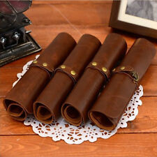 Retro Leather Pencil Pen Case Roll Cosmetic Pouch Pocket Brush Holder Makeup Bag