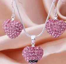 Pink Crystal 3D puffy LOVE HEART shamballa Pendant Necklace / Earrings or SET