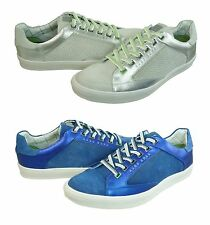 Hugo Boss Mens Athen White Silver Or Medium Blue Lace Up Sneakers Shoes Kicks