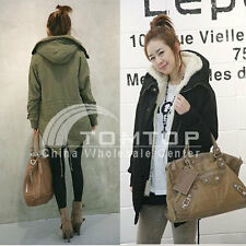Warm Womens Winter Korean Fleece Hooded Parka Coat Overcoat Long Jacket Outwear