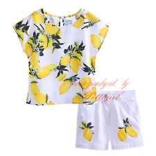 Girls Lemon Outfit Kids Short Sleeve T-shirt Top + White Shorts Set Age 3-10