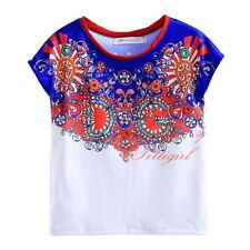 Girls T Shirt Kids Summer Top Floral Cotton Short Sleeved NEW Age 3-12 Years