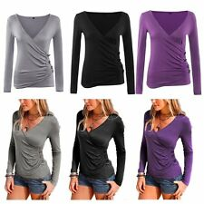 Womens Ladies Long Sleeve Blouse V Neck Wrap Front T Shirt Pleated Pullover Sexy