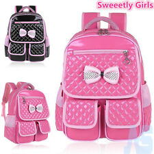 NEW Girls Children Leather Bow School Backpack Bags Primary Students Rucksack