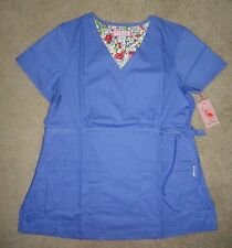 NWT Koi by Kathy Peterson Women's Ceil Blue Katelyn Scrub Top Size S/M/L