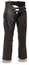 Ladies Naked Leather Low Rise Biker Chaps w/ Purple Reflective Tribal Embroidery