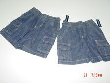 NWT  2 pairs Toddler Boys Faded Glory Cargo Jean Shorts Elastic Waistband 18 mo