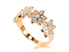10K Yellow GOLD Flower Cubic Zirconias Ring