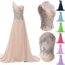 One Shoulder Long Bridesmaids Evening Cocktail Party Prom Ball Gown Maxi Dresses