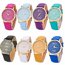 Women's Geneva Flower Dial Faux Leather Band Casual Analog Quartz Watches New