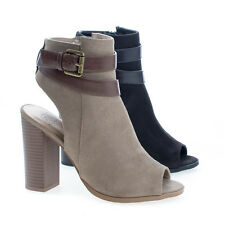 Bonfire Peep Toe Ankle Buckle High Stacked Heel Booties
