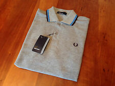 NEW GENUINE Fred Perry Mens Twin Tipped Grey Polo Shirt  - RRP £55