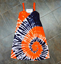 "Girls PURPLE & ORANGE Adjustable Strap M, L Eyelet Dress Hand Tie Dyed ""Clemson"""