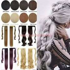 """18/21"""" Clip In Ponytail Pony Tail Hair Extension Wrap Around Hair Piece Straight"""