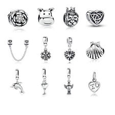 925 Sterling Silver Plated Charm Beads fit European Silver Charm Bracelet Chain