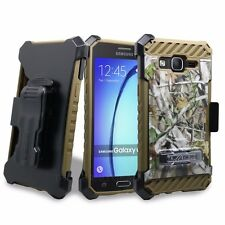 FOR SAMSUNG GALAXY ON5 G550 TRI-SHIELD STAND CASE + TEMPERED GLASS + BELT CLIP