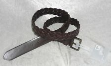 jcp Mens Belt Braided Brown Genuine Leather stretch solid size M L XL NEW