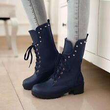 New Womens Motor Lace Up Rivet Low Heel Military Roma Platform Ankle Boot  Shoes