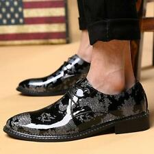 Mens Shiny Dress Shoes Lace-Up Pointed Toe patent leather Fashion Wedding Shoes