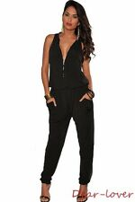 Women Sexy Zipper V-Neck Jumpsuits Sleeveless Casual Rompers Playsuits w/Pockets
