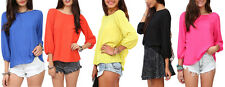 Women Blouse Loose T-Shirt Backless Chiffon Bow Tie Vintage 3/4 Sleeve Cut-Out