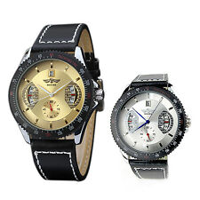winner Men's Date Automatic Mechanical Wrist Watch White dial black Band SYH