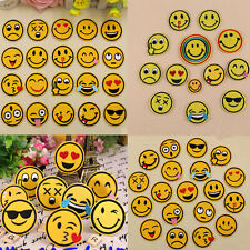 Smiley Face Emoji Patch Embroidered Sew On Iron On Badge Fabric Applique Craft