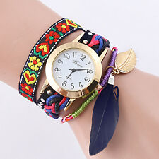 Fashion Lady Women Retro Leather Bracelet leaf Bangle Analog Quartz Wrist Watch